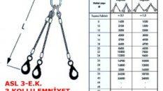 Üç Bacaklı Gözlü Emniyet Kancalı Çelik Halat Sapanı